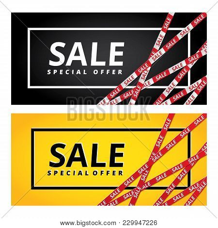 Black Friday Yellow Sale Tape Ribbon Card Background. Special Offer Red Tape Poster, Low Price Banne