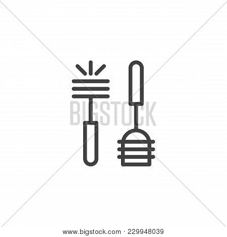 Plunger And Toilet Brush Outline Icon. Linear Style Sign For Mobile Concept And Web Design. Toilet W