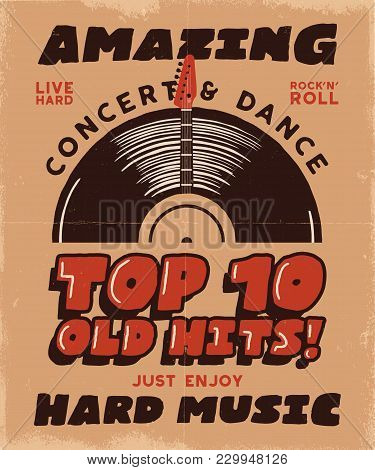 Hard Music Poster. Concert And Festival Tee Graphic Design. Retro Music Poster, Festival Invitation.