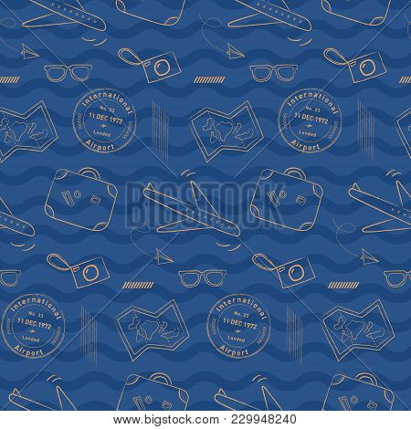 Doodle Airplane Travel Pattern With Wavy Background. Playful, Luxury, And Flexible Doodle Pattern Fo