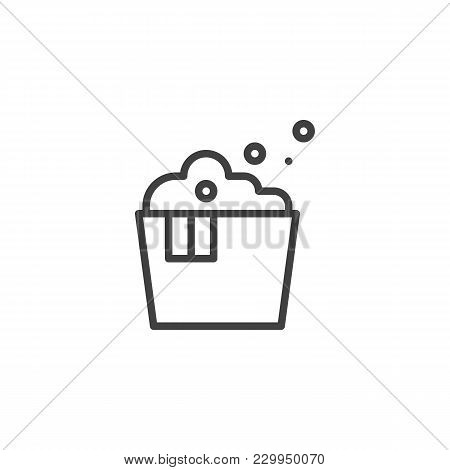 Laundry Washbowl With Foam Outline Icon. Linear Style Sign For Mobile Concept And Web Design. Clothe