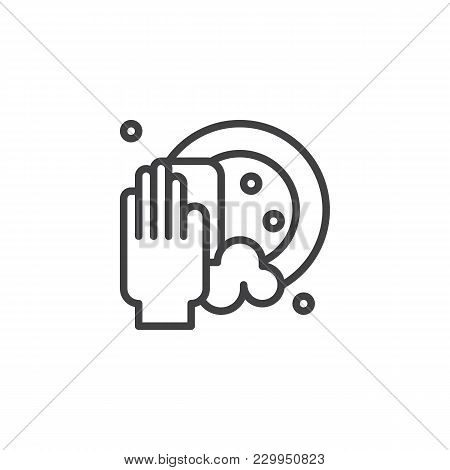 Clean Dishes Outline Icon. Linear Style Sign For Mobile Concept And Web Design. Hand Holding Sponge