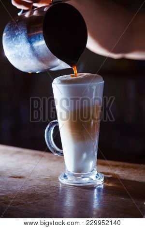 coffee latte on the bar. close-up