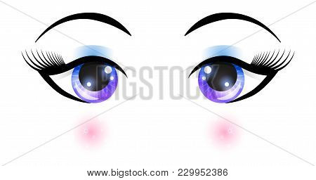 Female Eyes With Elements Of Space And Flush. Vector Fashion Illustration For Your Design.