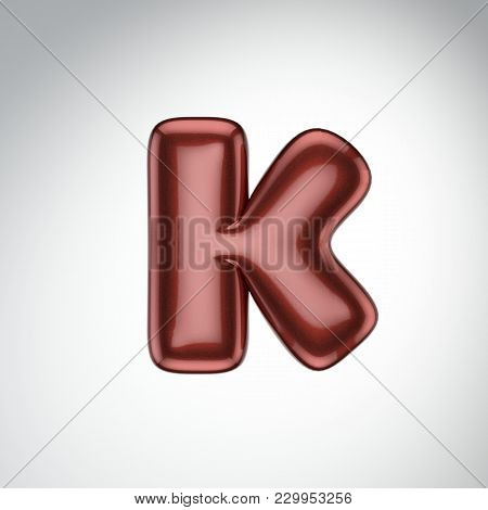 Glossy Paint Letter K. 3d Render Of Bubble Font With Glint Isolated On White Background.
