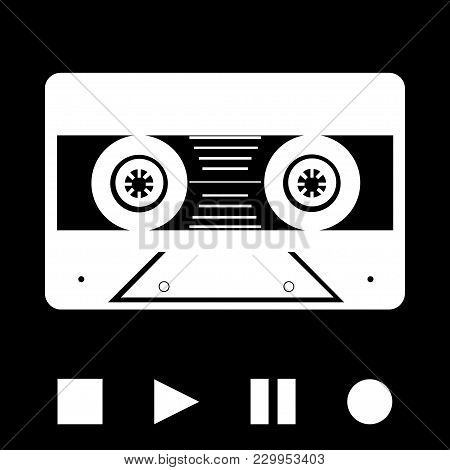 White Silhouette Of Vintage Music Tape Cassette And Play Stop Pause And Record Buttons Over Black Ba