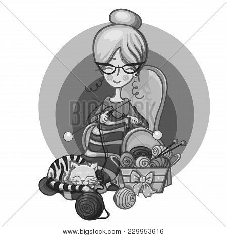Hand Paint Cartoon Character Happy Cute Granny Woman With Glasses Sits In A Chair And Knitting Needl