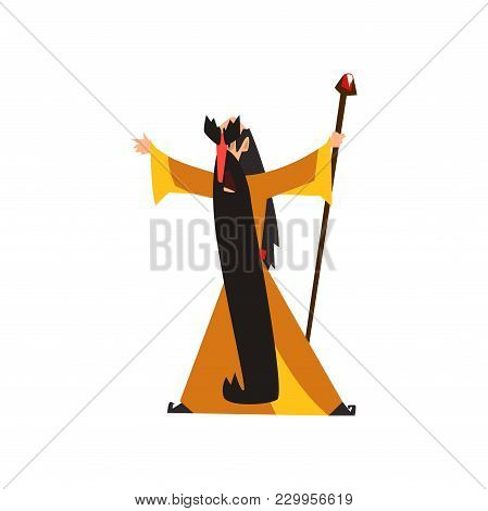 Wizard Holding A Magic Staff, Fantasy Magical Character Vector Illustration Isolated On A White Back