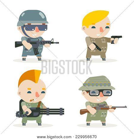 Battle War Rpg Game Soldier Heroes Gunman Rifleman Sniper Character Vector Set Icons Flat Design Vec