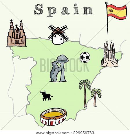 Map Of Spain Landmarks.Spain Landmarks Map Vector Photo Free Trial Bigstock