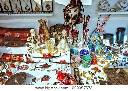 Daylight View To Souvenirs For Sale In Local Shop On Show-window