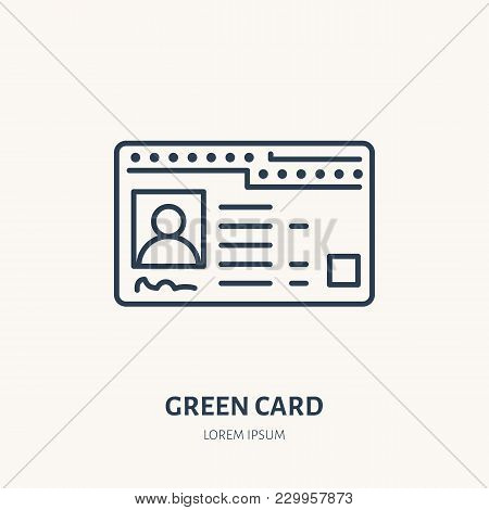 Green Card, Identity Vector Flat Line Icon. Id Document Sign.