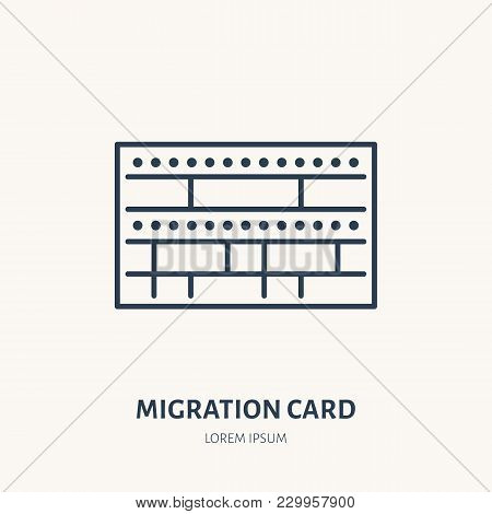 Arrival Card, Identity Vector Flat Line Icon. Migration Document Sign.