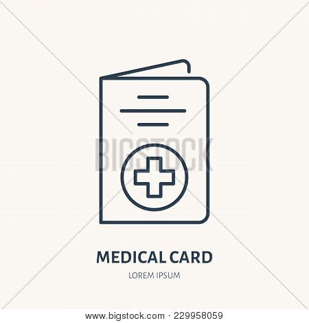 Medical Card Vector Flat Line Icon. Insurance Brochure Sign.