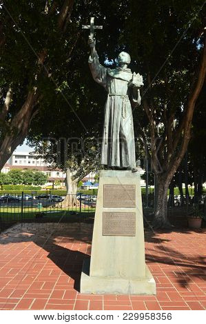 Statue Dedicated To Father Junipero Serra In Downtown Los Angeles. July 7, 2017. Downtown Los Angele