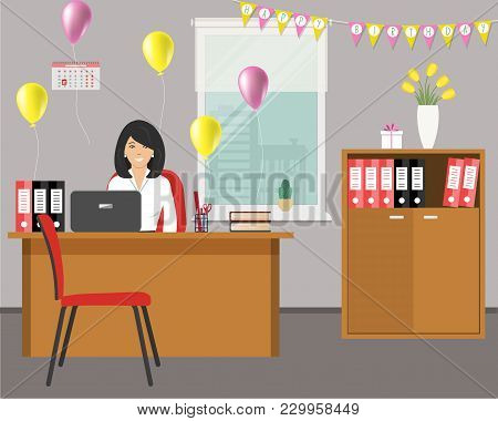 Workplace Of An Office Worker, Decorated For His Birthday. Young Woman Is Sitting At The Desk On Win