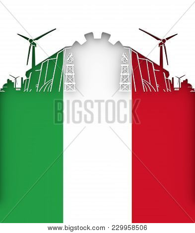 Energy And Power Cutout Silhouette. Sustainable Energy Generation And Heavy Industry. Flag Of The It