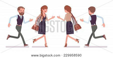 Handsome Male And Pretty Female Office Employee Running, In Hurry To Work, Busy. Business Casual Fas