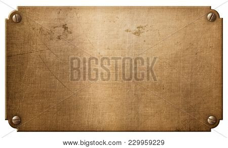 old copper metal plate or nameboard with rivets 3d illustration