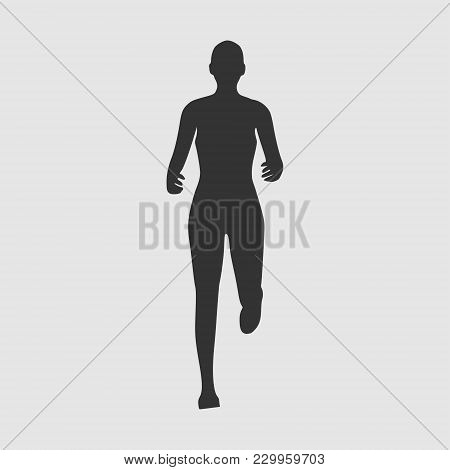 Running Woman. Front View Silhouette. Sport And Recreation