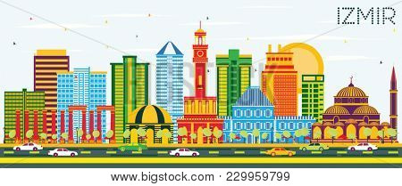 Izmir Turkey City Skyline with Color Buildings and Blue Sky. Business Travel and Tourism Concept with Modern Architecture. Izmir Cityscape with Landmarks.