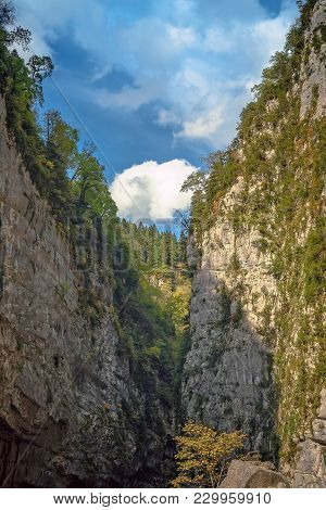 Narrow Gorge In The Ypshar Canyon. The Republic Of Abkhazia.