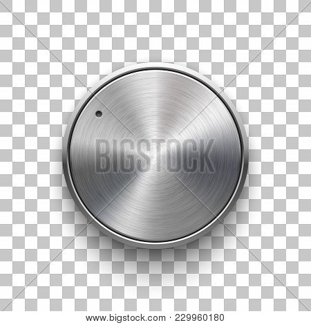 Audio Volume Knob, Technology Music Button Template, With Metal Circular Brushed Texture, Chrome, Si
