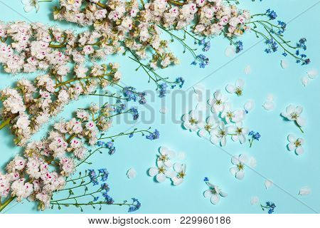 Spring Aqua Blue Background With White Blooming Chestnut, Apple And Forget-me-not Flowers, Close-up