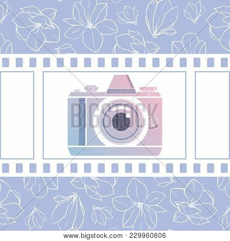 Photographer Design Element For Logotype, Label, Badge And Other. Magnolia Flowers,retro Photocamera