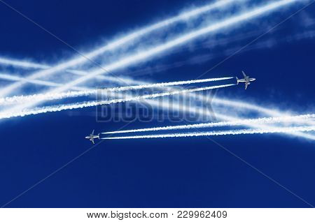 Two Passenger Airplanes Met At Altitude And Were Crossed By Courses Aviation Airport Contrail Clouds