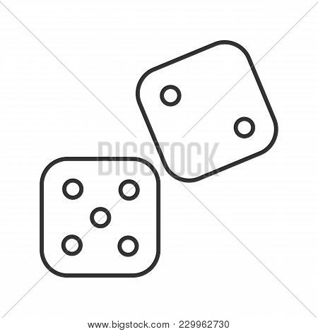 Dice Linear Icon. Gambling. Thin Line Illustration. Contour Symbol. Vector Isolated Outline Drawing