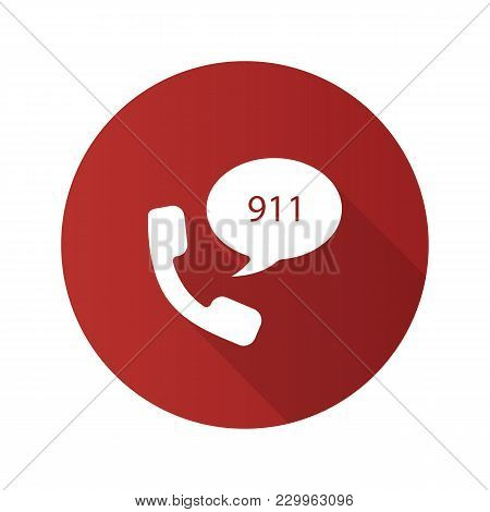 Emergency Calling Service Flat Design Long Shadow Glyph Icon. Handset And Speech Bubble With 911 Num