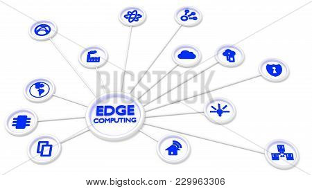 Circular Ketwork Of Symbols Connected To A Center Showing The Words Edge Computing 3d Illustration