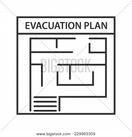 Evacuation Plan Linear Icon. Thin Line Illustration. Fire Escape Plan. Contour Symbol. Vector Isolat