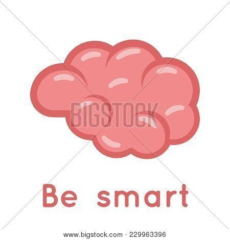Brain Smart Logo Symbol Education Idea Scientific Solution Flat Design Vector Illustration