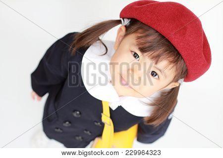 Japanese Girl In Kindergarten Uniform (3 Years Old) (high Angle)