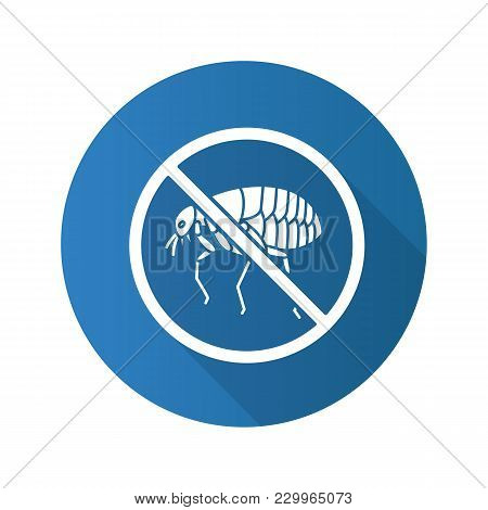 Stop Fleas Flat Design Long Shadow Glyph Icon. Parasitic Insects Repellent. Pest Control. Vector Sil