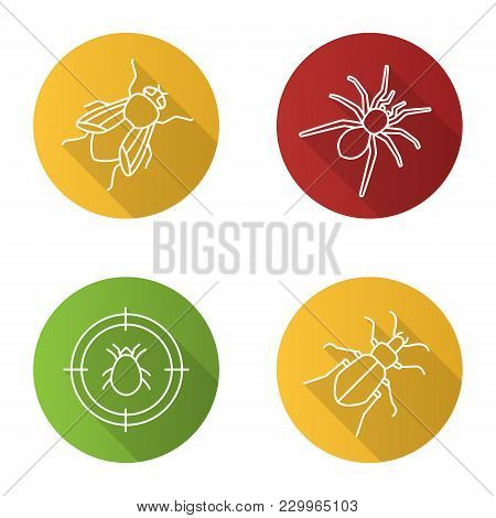 Pest Control Flat Linear Long Shadow Icons Set. Mite Target, Ground Beetle, Spider, Housefly. Vector