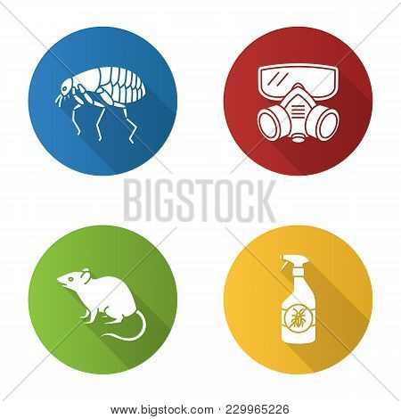 Pest Control Flat Design Long Shadow Glyph Icons Set. Insects Repellent, Flea, Respirator, Rodent. V