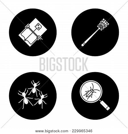 Pest Control Glyph Icons Set. Cockroach Searching, Fly-swatter, Mouse Trap, Ants. Vector White Silho