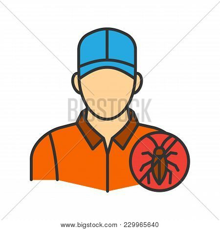 Exterminator Color Icon. Pest Control Service. Isolated Vector Illustration