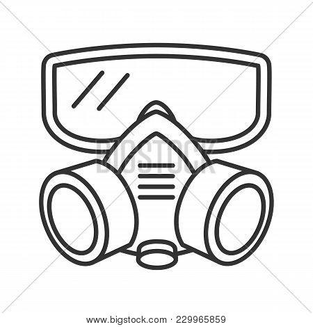 Respirator Linear Icon. Gas Mask. Pest Control Equipment. Thin Line Illustration. Contour Symbol. Ve