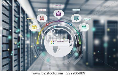 Center Data Internet Data Center World Map Business Man Smart Phone