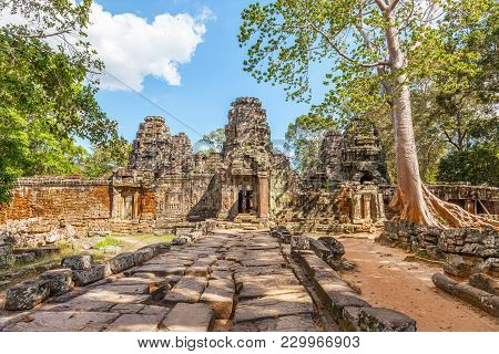 Banteay Kdei Temple Entrance At Angkor Wat Complex In Cambodia. Buddhist Temple Built In The Mid-12t