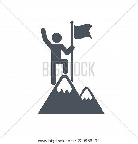 Man With Flag Stendind On The Top Of Mountain. Icon. Success Concept