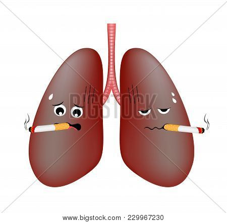 Damage Smoking Lung Troubled. Cute Cartoon Character. Health Care Concept  Vector Illustration Isola