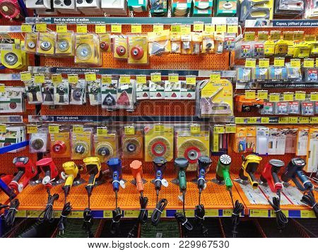 Resita, Romania - March 7: Electic Sander And Accessories Displayed For Sale At Home Improvement Sto