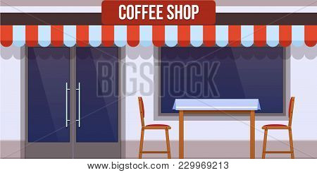 Modern City Facade Of Cafe Building. Facade Of Cafe Street Building With Glass Window And Door. Stre
