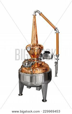 Traditional Distiller Tank Made From Copper Production Of Alcohol, Cognac, Whiskey. Copper Modern Di