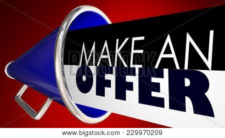 Make an Offer Bullhorn Megaphone Negotiate 3d Illustration